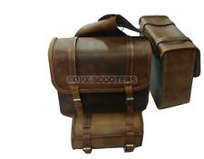 Rusty Leather Pair Saddle Bags & Tool Roll Bag For Royal Enfield All Model