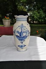 Delft Blue Biege Ceramic Floral Bud Vase Hand Painted Windmill