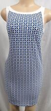 """ANN TAYLOR"" BLUE & WHITE GEO PRINT CAREER CASUAL SHIFT DRESS SIZE: XS NWT $90"