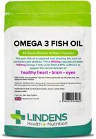 Omega 3 Fish Oil 1000mg 90 Capsules DHA EPA Fatty Acids High Strength Lindens UK