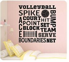 "24"" Volleyball Collage Sayings Sport Spike Serve Court Wall Decal Sticker Team"