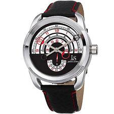 Men's Joshua & Sons JX129RD Quartz Movement Arc-Themed Dial Leather Strap Watch