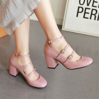 Womens Solid Round Toe Block Mid Heel Buckle Belt Ankle Shoes Fashion Pumps New