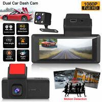 1080p Dual Lens Car DVR Dash Cam Front &Rear CameraRecorder Sensor Night Vision