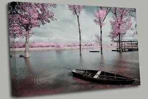 Tree Blossom Pink Sunset Seascape Canvas Wall Art Picture Print