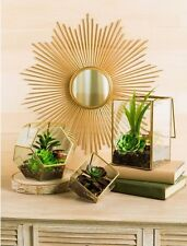 Midcentury Modern Glam Gold Metal Starburst Wall Mirror Home Decor