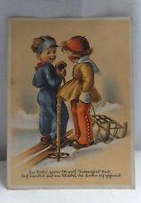 AK Künstlerkarte Verlag Emil Köhn zwei Kinder mit Ski und Schlitten gel. 1942