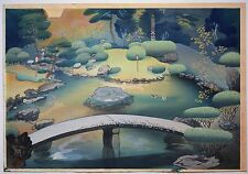 Bafuku Ohno Original Woodblock of Kyoto Garden, Signed & In Stellar Condition!!
