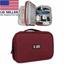 """BUBM Portable Electronics Organizer, Double Layered Carry Case Red 10"""" for Ipad"""