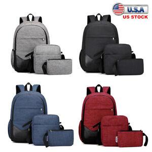 3 Sets Canvas Backpack Men Boys Girls Women Rucksack School Travel Shoulder Bag