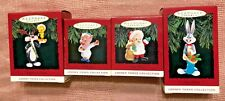 Lot 4  Hallmark Ornaments LOONEY TUNES  Sylvester Tweety  Bugs Porky Elmer Fudd