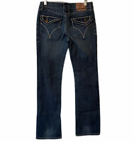 "Cowgirl Up Don't Fence Me in Stretch Denim  Jeans Womens Size 0 / 26 32"" long"