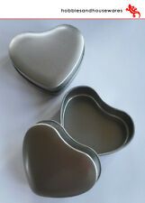 12 Silver Heart Tins & Lids - perfect for wedding,candle making,sweets,valentine