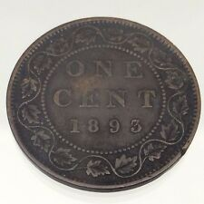1893 Canada One 1 Cent Penny Copper Circulated Canadian Coin B443