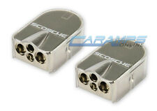 SET OF (2) CAR STEREO PLATINUM NICKEL BATTERY TERMINAL CLAMP SET W/ CLEAR COVERS