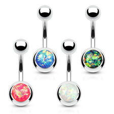 4 lot Glitter OPAL Ball Belly Button RINGS Navel Studs Barbell Piercing Jewelry