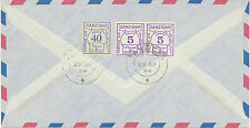 2049 ZANZIBAR 1964 POSTAGE DUE 50 C. on Airmail-cvr from Germany EXHIBITION-ITEM