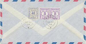 ZANZIBAR 1964 POSTAGE DUE 50 C. on Airmail-cvr from Germany EXHIBITION-ITEM