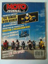 MOTO JOURNAL N°855 du 7/1988; 750 Yamaha Nico Bakker/ Transalp/ 125 Sport Italia