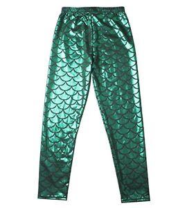 Kid Girls Children Mermaid Scale Shine Costume Sea Disco Party Pants leggings