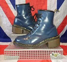England*Vintage Clemency*Navy Blue Chunky Heel 8i Dr Doc Martens*Grunge*Quirky*4