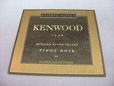 Wine Label: KENWOOD Reserve Olivet 1998 Pinot Noir Russian River Valley CA