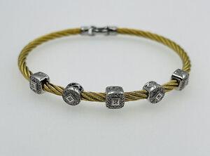 Charriol Authentic 18k White Gold Diamond & Golden Steel Cable Station Bracelet