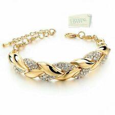 Genuine Swarovski Crystals 18k Gold Plated Leaf Bracelet Nice *Gift n Box*