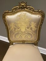Antique French Chair - Cherub Angel Upholstery in a Champagne Gold.