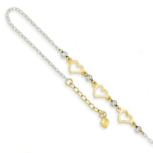 14k Two-Tone Gold Triple Heart and Bead Adjustable Anklet, 9 Inch