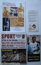 4 Baseball Items: 1984 HOF Induction Program, 1974 Hank Aaron Guide, Mantle Card