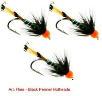 Arc Fishing Flies UK Trout Flies 33J Black Pennel Hotheads # 6 8 10 12 14 16 18