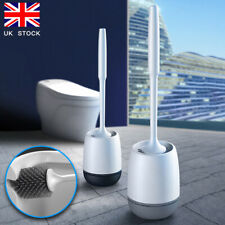 Soft Silicone Bristle Toilet Brush & Holder Set Bathroom WC Cleaning Brush Base