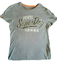 Mens Superdry Small Grey T Shirt with Logo