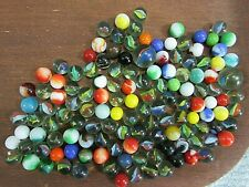 Vintage 1 lb 9 oz Mixed Size Pre 1970's Marbles Cat Eye Akro Agate Solid Free Sh