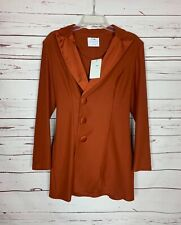 FASHION NOVA Women's M Medium Rust Burnt Orange Button Jacket Coat NEW With TAGS