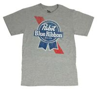 Pabst Blue Ribbon Distressed Logo Graphic Beer Tee PBR Mens T Shirt