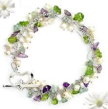 Multi-Gemstone Toggle Bracelet set in 925 Sterling Silver