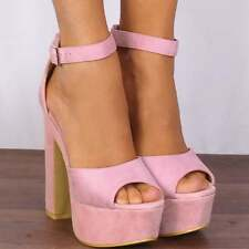 BABY LIGHT PINK WEDGED PLATFORMS PEEP TOES STRAPPY SANDALS HIGH HEELS SHOES SIZE