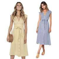 Women Summer Boho Dresses Striped Casual Button V Neck Tie with Sleeveless Q8Q5