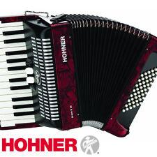 Hohner BR48R-N Bravo 26-Key 60 Bass Piano-Style Accordion Red + Bag, Straps