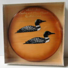 Vintage Canadian bird plaque loon diver pine wood leather Hinterland craft BOXED