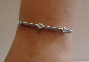 ITALIAN 3 ROSE OPEN BANGLE W/ ACCENTS /18K WHITE GOLD OVER 925 STERLING SILVER