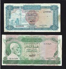 LIBYA  -  1 DINAR 1972 + 10 DINARS  1980   @ LOT OF 2 NOTES   @