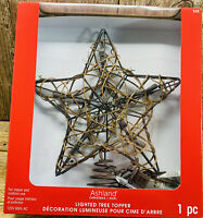 "11"" Rustic Grapevine & Sprinkle Gold Glitter Star Lighted Christmas Tree Topper"