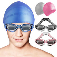 Adult Swimming Goggles Anti Fog UV Protection With Pool Swim Silicone Cap Hat US