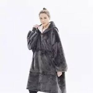 Winter Blanket Sleeve Ultra Plush Hoodie Pink Grey Wine Warm Flannel Hooded Hot