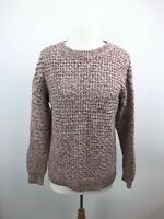 Gap Womens Sz L Sweater Pullover Open Knit Long Sleeve Marled Willow Pink