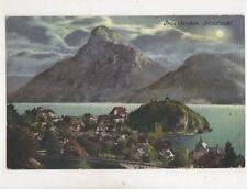 Traunkirchen Mondnacht Austria Vintage Moonlight Postcard Brandt 389b