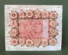 """Sicura Caspari Photo Frame Pink Flowers On Whitewashed Board for 4""""x6"""" Picture"""